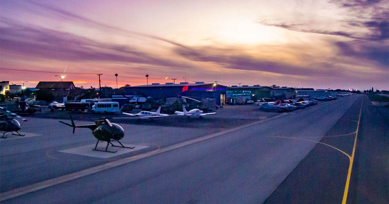 Compton airport at dusk